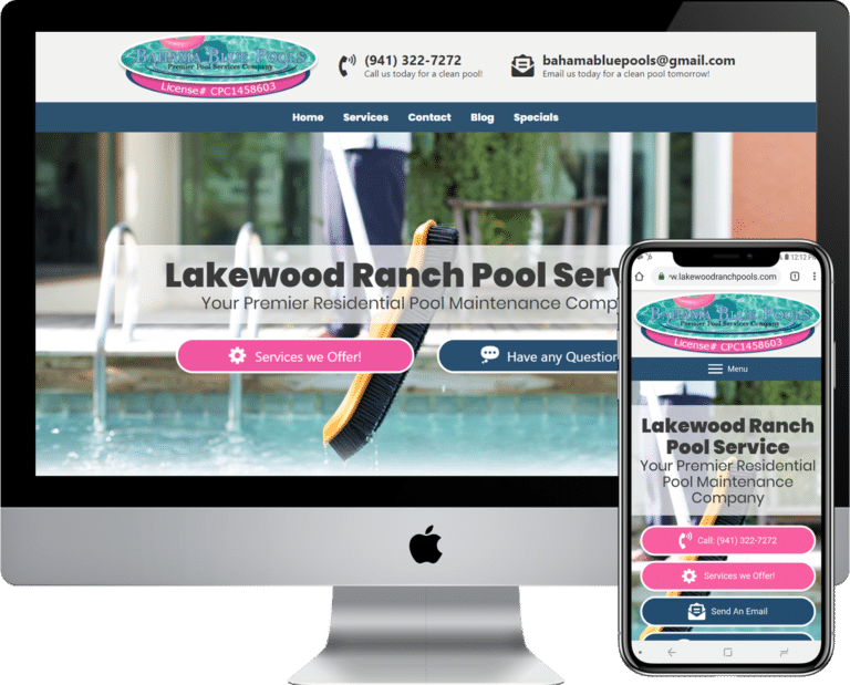 Pool service and cleaning company website design