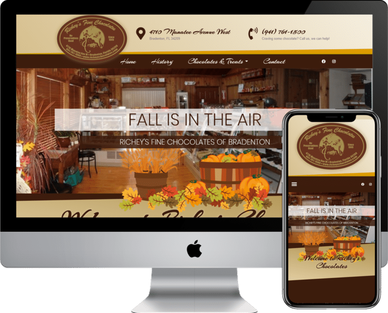 Richey's Chocolates WordPress website design and development in the Bradenton, Sarasota, Florida area