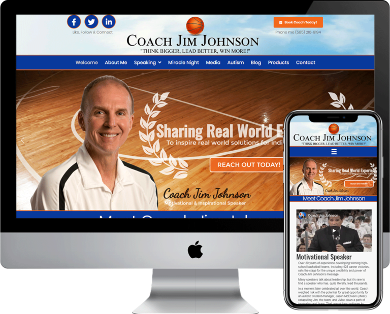 Professional Speaker website design agency, Deckard & Company built this website for Coach Jim Johnson
