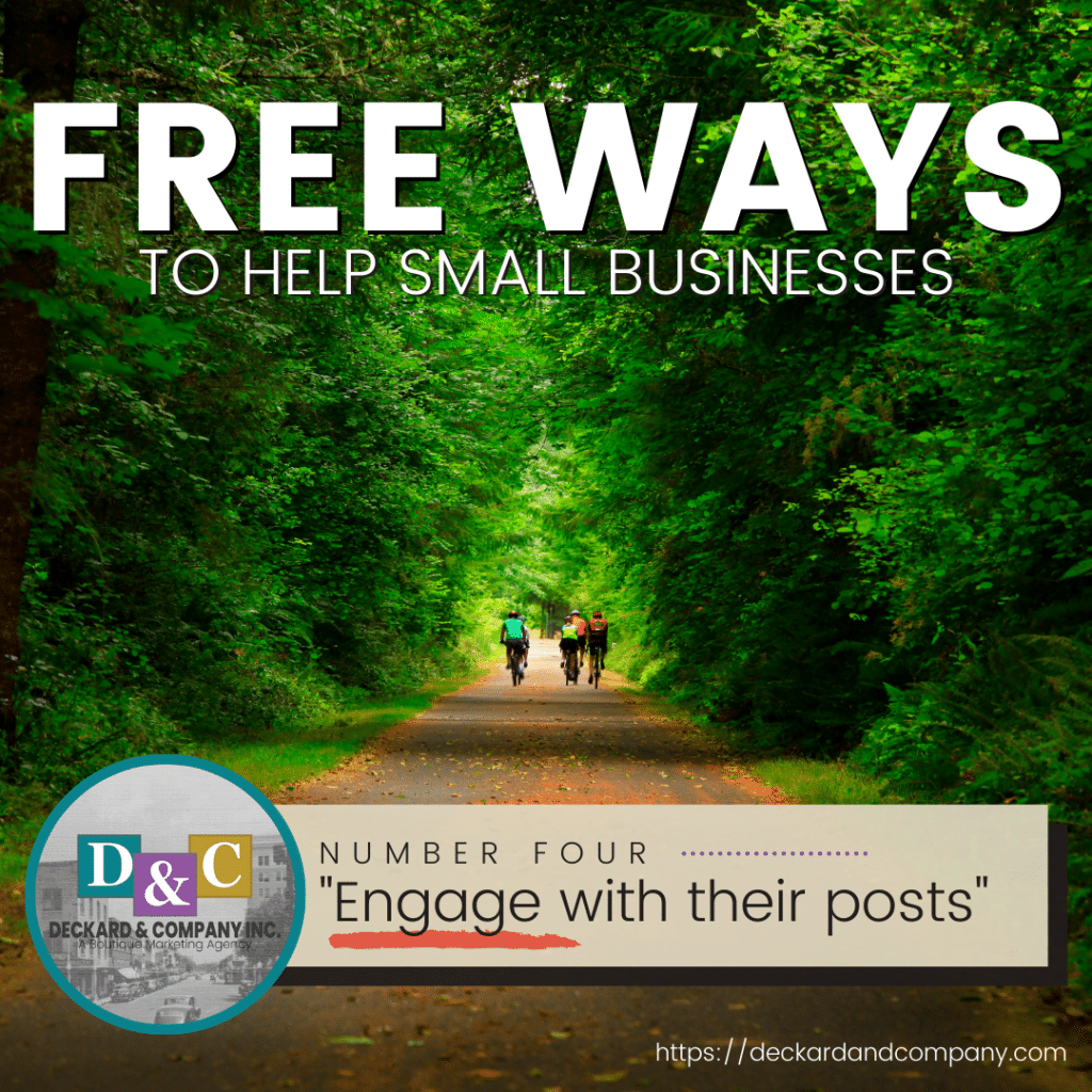 Engage with a small business on social media to help them succeed.