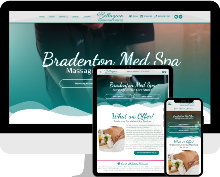 Bellagena Med Spa WordPress website design and development services by Deckard & Company, a Boutique Marketing Agency in Florida