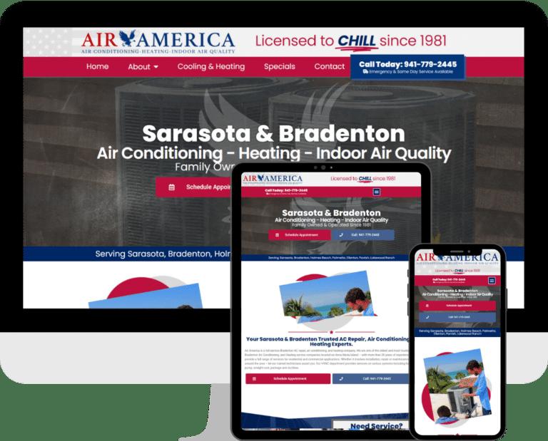 Air America is a Sarasota based HVAC, AC, and Heating company. WordPress website design and development by Deckard & Company, a Bradenton, Based marketing agency.