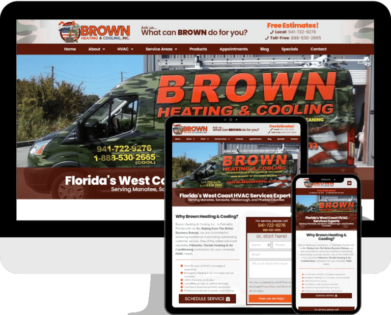 Brown Heating & Cooling of Palmetto, website built with WordPress and Elementor by Deckard & Company, a Boutique Marketing Agency