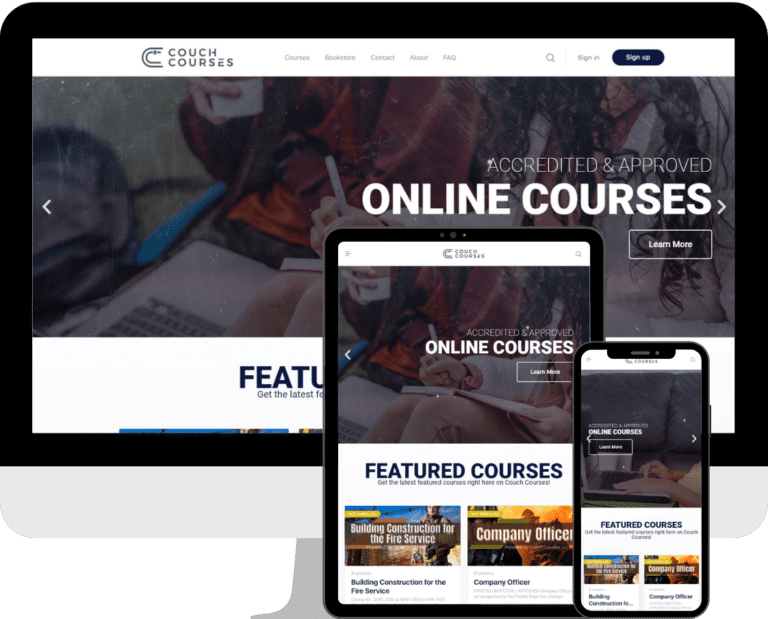 Couch Courses Online Learning built with WordPress and Elementor by Deckard & Company, a Boutique Marketing Agency based in Bradenton, Florida