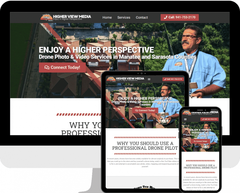 Bradenton drone photography wordpress website design services